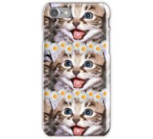 Happy Cat With Daisies iPhone Case/Skin