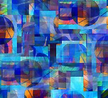 Abstract Composition in Shades of Blue With Accents of Other Colors – April 12, 2010  by Ivana Redwine