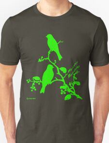 Green Rustic Bunting silhouette on a branch T-Shirt