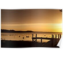 Sunrise with birds Poster