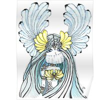 Watercolor and ink Greek Goddess Poster