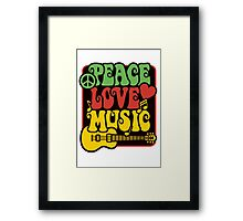 Peace, Love, Music in Rasta Colors Framed Print