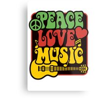 Peace, Love, Music in Rasta Colors Metal Print