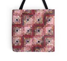 Victorian Rose Log Cabin Quilt Tote Bag