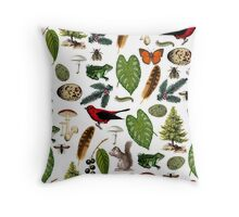 Rustic Woodland Plants And Animals Pattern Throw Pillow