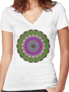 Soft Light - Kaliedescope Mandala By Sharon Cummings Women's Fitted V-Neck T-Shirt