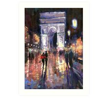 Paris Miting Point Arc de Triomphie Art Print