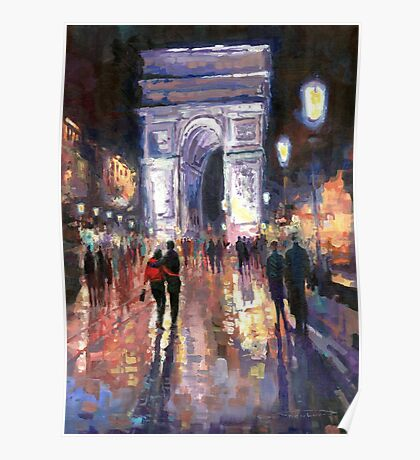 Paris Miting Point Arc de Triomphie Poster