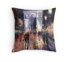 Paris Miting Point Arc de Triomphie Throw Pillow