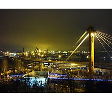 seaport with cranes at night Photographic Print