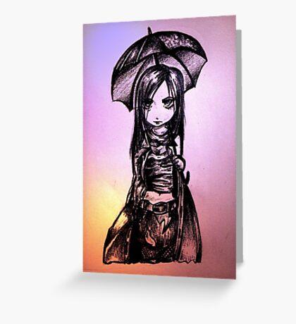 Anime Gothic Girl Greeting Card