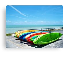 Key West Florida Aquamarine Blue Kayaks primary colors Canvas Print
