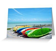 Key West Florida Aquamarine Blue Kayaks primary colors Greeting Card