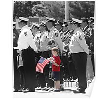 Boy with flag Poster