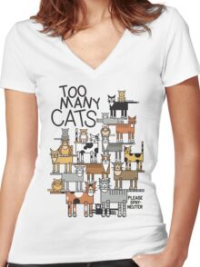 Too Many Cats Women's Fitted V-Neck T-Shirt