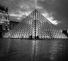 black and white louvre pyramid by churros