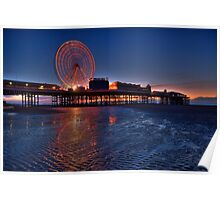 Blackpool Central Pier at Night Poster