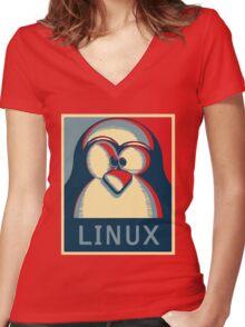 Linux tux penguin obama poster logo Women's Fitted V-Neck T-Shirt