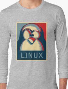 Linux tux penguin obama poster logo Long Sleeve T-Shirt