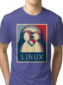 Linux tux penguin obama poster logo Tri-blend T-Shirt