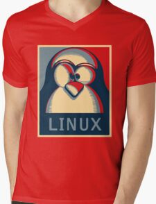 Linux tux penguin obama poster logo Mens V-Neck T-Shirt