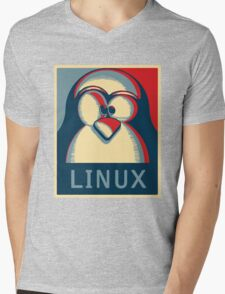Linux tux penguin obama poster logo Mens V-Neck T-Shirt