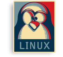 Linux tux penguin obama poster logo Canvas Print