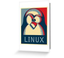 Linux tux penguin obama poster logo Greeting Card