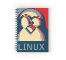Linux tux penguin obama poster logo Spiral Notebook