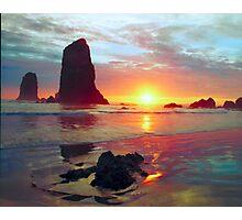 Sunset, Cannon Beach Oregon 1, USA Photographic Print