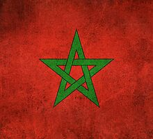 Old and Worn Distressed Vintage Flag of Morocco by Jeff Bartels