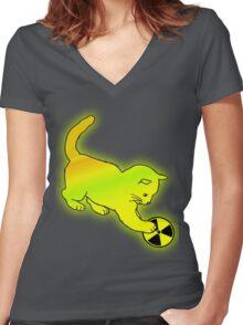 Nulcear Kitten Women's Fitted V-Neck T-Shirt