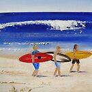 Beach Series - Surfers by Tash  Luedi Art