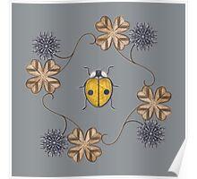 LadyBug Clovers - Carbon Poster