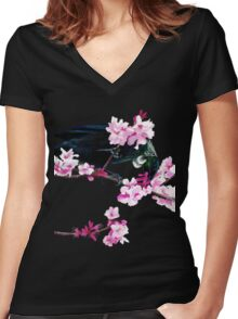 Tui Feeding on Cherry Blossoms Women's Fitted V-Neck T-Shirt