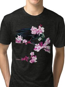 Tui Feeding on Cherry Blossoms Tri-blend T-Shirt