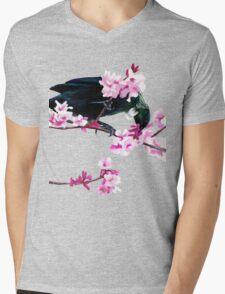 Tui Feeding on Cherry Blossoms Mens V-Neck T-Shirt