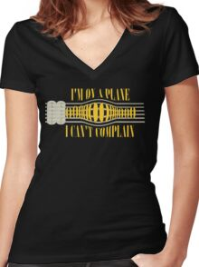 Nirvana ~ On A Plane Lyrics Guitar Design Women's Fitted V-Neck T-Shirt