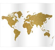Gold glitter world map Poster