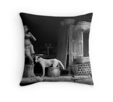 Bali Boy With Dog Throw Pillow