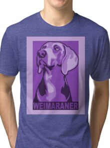 Weimaraner portrait in colourful poster-style Tri-blend T-Shirt