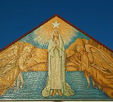 Mary Star of the Sea Church  artwork on front fascade  by heatherfriedman