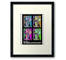 Colourful Weimaraner poster-style portrait Framed Print