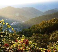 Sunrise Over Gatlinburg, Tennessee GSMNP by NatureGreeting Cards ©ccwri