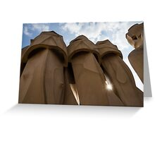 Whimsical Chimneys - Antoni Gaudi, La Pedrera, Barcelona, Spain Greeting Card