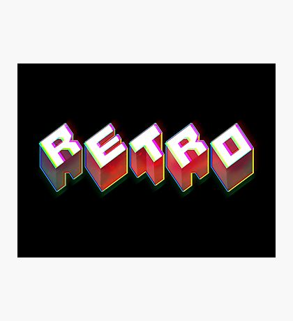 RETRO. 3D Typography cool 1980s/80s Design. Photographic Print