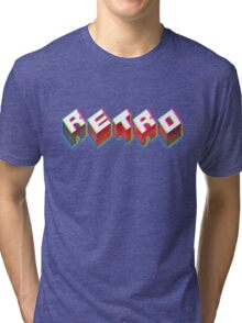 RETRO. 3D Typography cool 1980s/80s Design. Tri-blend T-Shirt