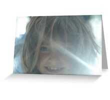Young girls sunlit face Greeting Card