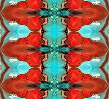 Color Chant - Red And Aqua Pattern Art By Sharon Cummings by Sharon Cummings
