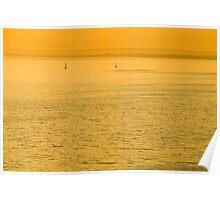 Yachts in golden haze Poster